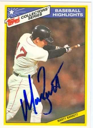 Marty Barrett autographed Baseball Card (Boston Red Sox) 1987 Topps collectors series 1986 World Series Highlights