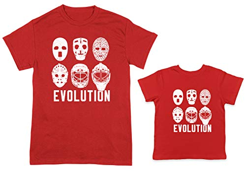 HAASE UNLIMITED Evolution of Goalie Mask 2-Pack Toddler & Men's T-Shirt (Red/Red, XX-Large/24 Months)