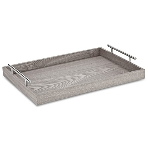 Abbott Collection Handled Tray, 13 by 19-Inch, Light Grey