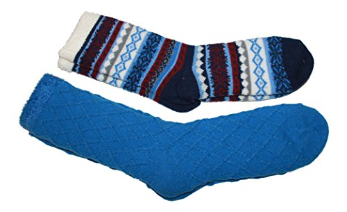 Cabin Socks Aloe Infused Double Layer 2 pack - 1 Nordic Pattern and 1 Solid (Blue) by Outdoor Socks and Gear