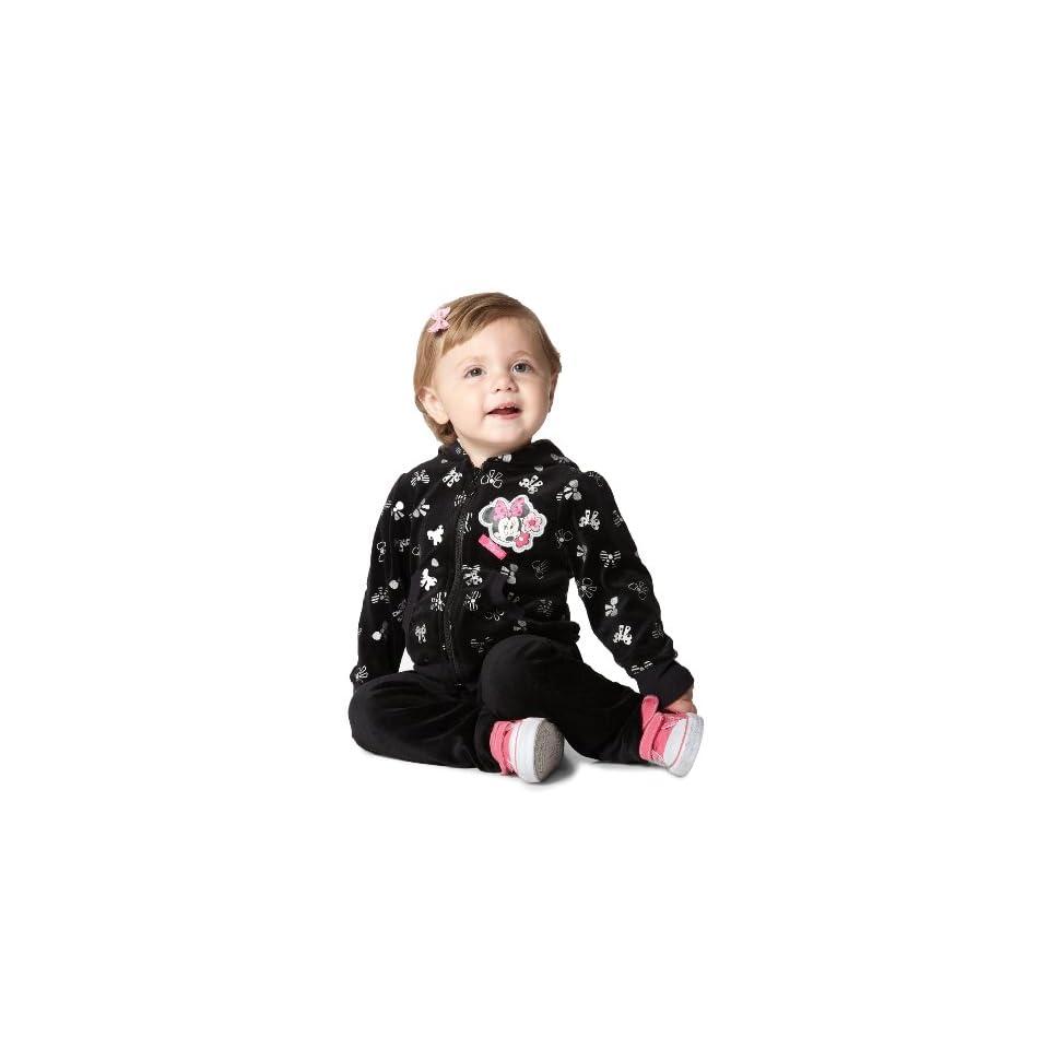 Disney Baby Girls Minnie Mouse 2 Piece Bow Velour Hoodie Set, Black, 12 Months