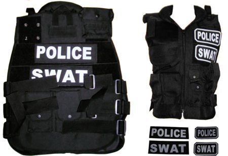 Paintball Airsoft Black SWAT, POLICE Tactical Vest Field Gear