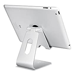 Tablet Stand Multi-Angle, Lamicall Tablet Holder: Desktop Adjustable Dock Cradle Compatible with Tablets Such as iPad Mini Air 2 3 4 Pro, Phone X 6 7 8 Plus Other Tablets (4-13 inch) - Silver