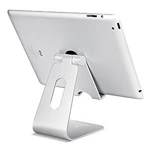 Soporte de Tablet Multiángulo, Lamicall Base para Tablet: Ajustable de 4''~13'' para Tablets Celular para Pad,Huawei, Kindle, Samsung Tab- Plata