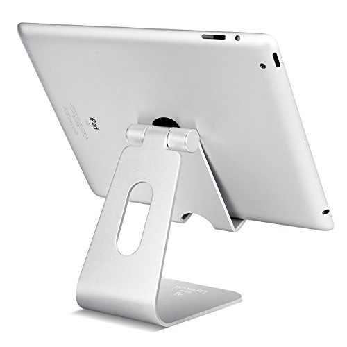 Tablet Stand Multi-Angle, Lamicall iPad Stand : Desktop Adjustable Holder Dock for iPad mini Air 2 3 4 Pro, iPhone 6 7 8 X Plus, Nintendo Switch Accessories, Samsung, Other Tablet (4-13 inch) - Silver