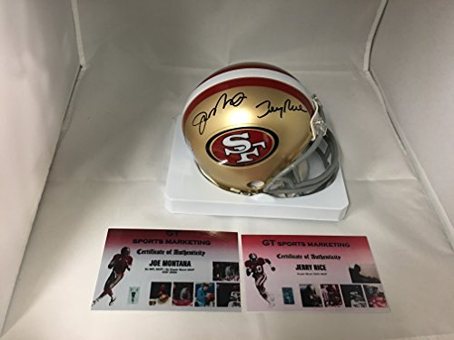 Joe Montana Jerry Rice Dual Signed Autographed 49ers Mini Helmet GTSM Rice & Montna Holograms & COAs