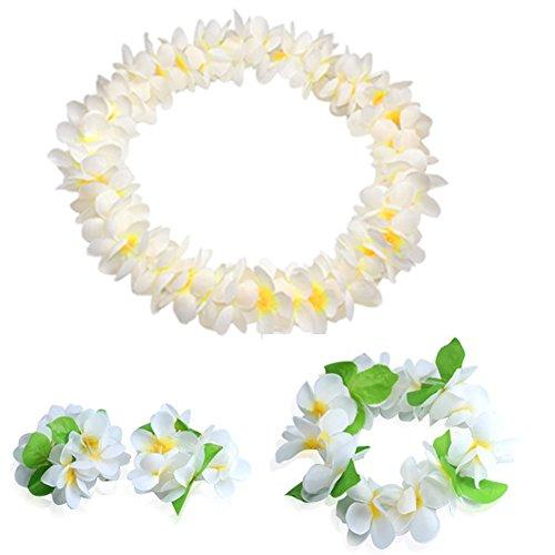 (JSSHI Lush Hawaiian Headpiece,Hawaiian Flower Leis Jumbo Necklace Bracelets Headband Set with Leaf for Hawaiian Luau Party Decoration Supplies (with Green Leaves,White))