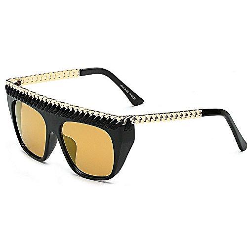 gafas decoración de las al tamaño de las Retro la sol la libre Gafas estilo de vacaciones para protección de mujeres de Gran aire sol cadena de Gold verano de de UV gran de Playa Personalidad conducción xnAOzXwn