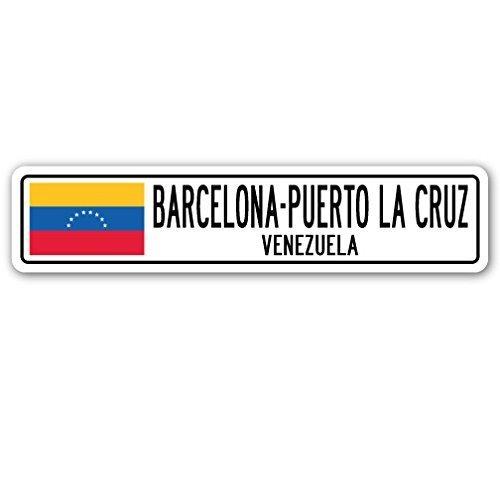 Decorativo Signs con refranes barcelona-puerto la cruz, Venezuela Bandera de placa de calle de los venezolanos ciudad regalo Metal Aluminio Pared Signo ...