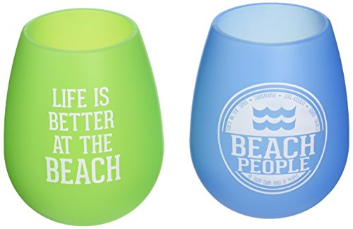 Pavilion Gift Company We People Beach Green and Blue Silicone Wine Glass Set, Multicolor -
