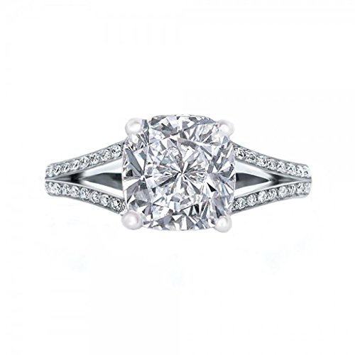 Diamonbella.com 101 Facets 2 Carats Realistic Princess Cushion Cut NSCD Simulated Diamond Solitaire Split Shank Ring 925 Silver Platinum Plated RSPLIT60 price tips cheap