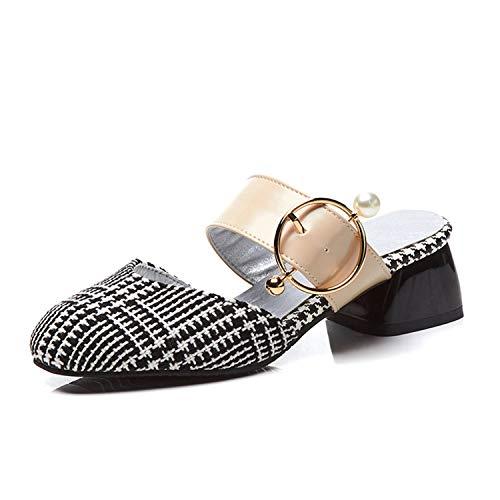Size 32-48 Mules Square Med Heels Metal Decoration Shoes Woman Casual Party Pumps,Colors,9 ()