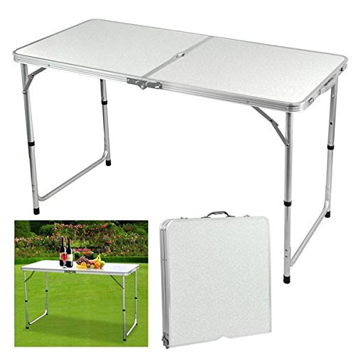 Gotobuy 4 Foot Aluminum Folding Dining Table Outdoor Camping Picnic Table White