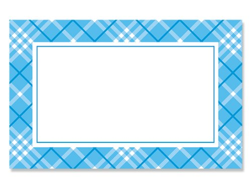 50 pack Blue Plaid BorderNo Sentiment Enclosure Cards (20 unit, 50 pack per unit.) by NAS