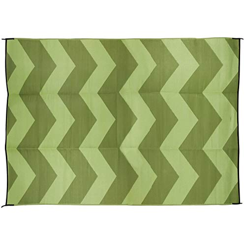 Camco Large Reversible Outdoor Patio Mat - Mold and Mildew Resistant, Easy to Clean, Perfect for Picnics, Cookouts, Camping, and The Beach (9' x 12', Chevron Green Design) (42859)