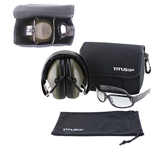 TITUS Earmuff/Glasses Combo - M2 Low-Profile Muffs & G1 Bold Classic Safety Glasses - Ear+Eye Protection Super Bundle (EarMuffs, Glasses, and Carrying Case) - Personal Safety, Shooting Gear