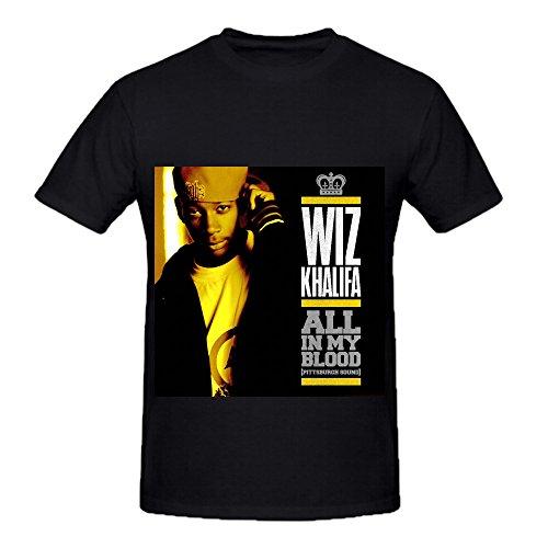 Wiz Khalifa All In My Blood Tracks Men O Neck Funny T Shirt Black (Xmen Fancy Dress)
