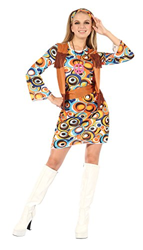 Ladies Hippy/Mod Dress with Fringed Vest Costume Hippie 60s 70s Fancy Dress Adult by Partypackage (70s Hippie Costumes)