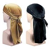 SYCLZ 2-Pack Men's Women's Velvet Durag Cap Soild Color Headwraps with Long Wide Strap (Gold/Black)