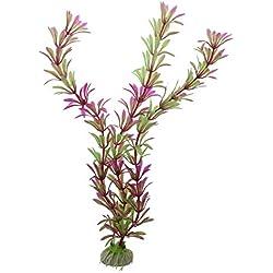 "ZAMTAC SODIAL(R) 2 Pcs 11.4"" Artifical Fish Tank Decoration Water Plant Purple Green"