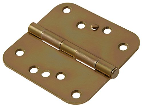 """The Hillman Group The Hillman Group 852597 4"""" Security Stud Hinge - 5/8 Round Corner - Full Mortise - Zinc & Yellow Dichromate Finish (2 Pack)"""