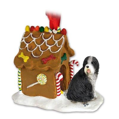 (Eyedeal Figurines Bearded Collie Dog New Resin Gingerbread House Christmas Ornament 95 )
