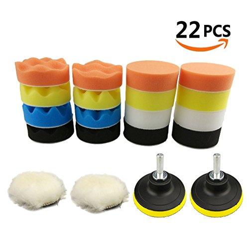 "BaiFM Compound Drill Buffing Sponge Pads,Car Foam Drill Polishing Pad Kits 22pcs 3""/80mm for Car Polishing, Waxing, Sealing Glaze (16 Polishing Pads+2pcs Drill Adapter+2pcs Woolen Buffer+2pcs Suction"