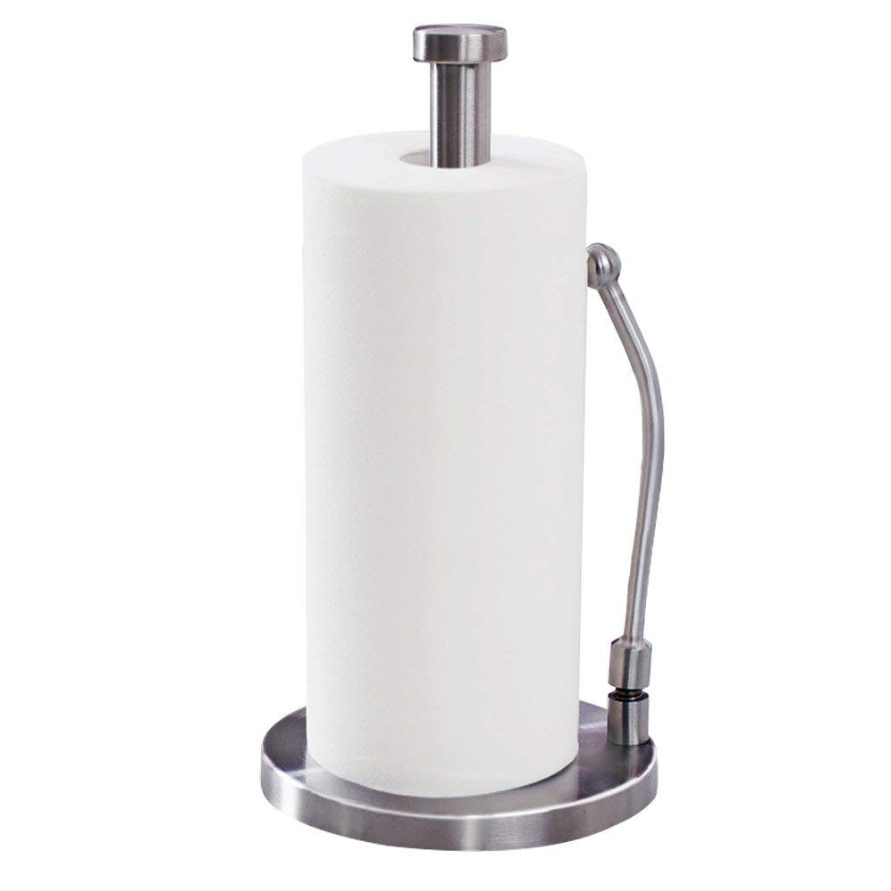 Viemode Standing Tear Paper Towel Holder - 12''x 7'' Stainless Steel Vertical Tissue Holder for Countertops, Non-Slip Heavy Base Dispenser with Stylish Tension Arm Keeps Towels Secure
