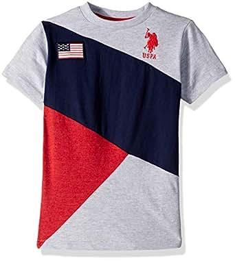 U.S. Polo Assn. Boys Classic Cut and Sew Flag T-Shirt Short Sleeve T-Shirt - Gray - 5/6