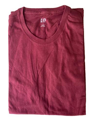 GAP Men's Crew Neck Cotton T Shirt Everyday Quotidien Solid Color (Burgundy, X-Large) - Gap Red T-shirt