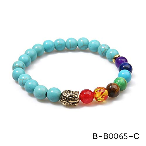 Zozu OAIITE 7 Chakra Gold Buddha Lose Weight Bracelets For Women Men Natural Stone Beads Jewelry Chakra Bracelet Yoga Prayer Therapy (B-B0065-C)