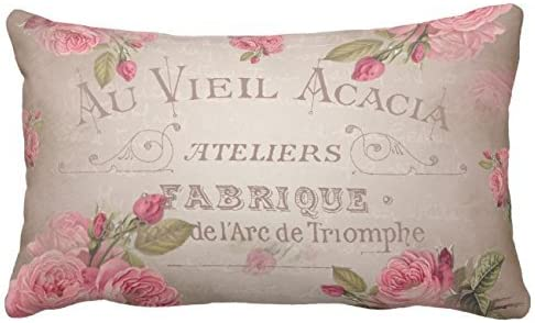 Handmade  Pink Floral Shabby Chic Pillow Case//Cover with or without Ruffle