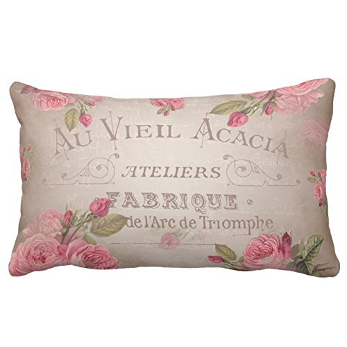 (UTF4C Vintage French Shabby chic Roses Pink Floral Throw Pillow Case Square 12 x 16 Inches Soft Cotton Canvas, Pillow Cover Decorative for Sofa Couch Hidden Zipper)
