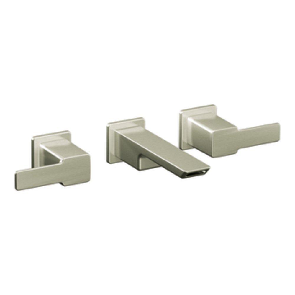 wall kits nickel arc p not trim included kingsley brushed low faucets mount in kit moen valve handle faucet bathroom sink