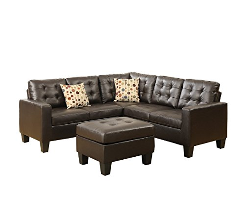 Advanced Modern Espresso Bonded Leather Sectional Sofa Set with Ottoman and Accent Tufting