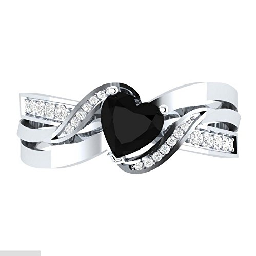 konkanok shopFashion 925 Silver Heart Shape Black Sapphire Women Wedding Ring Size 6-10 7