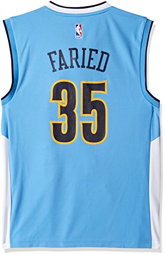 Blue Adidas Nba Jersey - adidas NBA Men's Denver Nuggets Kenneth Faried Replica Player Road Jersey, Large, Blue