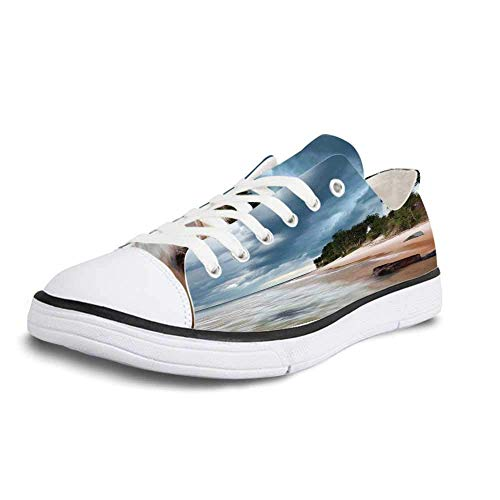 Canvas Sneaker Low Top Shoes,Lighthouse Decor Au Sable Lighthouse in Pictured Rock National Lakeshore Michigan USA Women 5