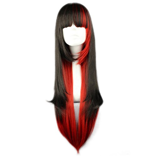 31 Inches/80cm Black Mixed Red Long Straight Women Anime Cosplay Wig+Cap]()