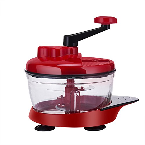 XDOBO Manual Chopper, Express Food Chopper, hand crank food processor chopper, Vegetable Hand-powered Crank Blender with 5 Blades Powerful Food Processor 2.5L Big Capacity, Red by xdobo