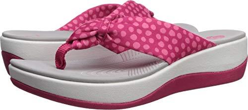 (Clarks Women's Arla Glison Flip-Flop, bright rose textile/pink dots, 8 M US)
