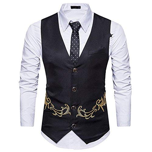 - MAGE MALE Mens Suit Vest Tailored Formal Business Single Breasted Golden Pattern Dress Waistcoat (XS, Black), X-Small, Black