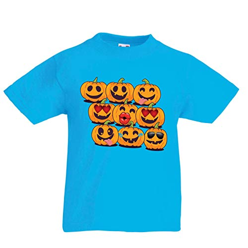lepni.me Kids T-Shirt Pumpkin Emoji Funny Halloween Party Costume (3-4 Years Light Blue Multi -