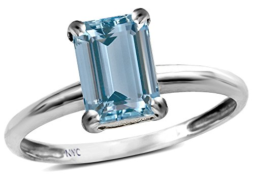 Star K Classic Octagon Emerald Cut 8x6mm Simulated Aquamarine Solitaire Engagement Promise Ring 10k White Gold Size 5