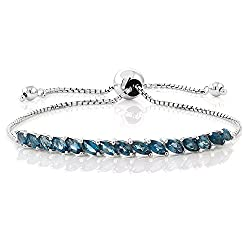 Women's Silver London Blue Topaz Tennis Bracelet