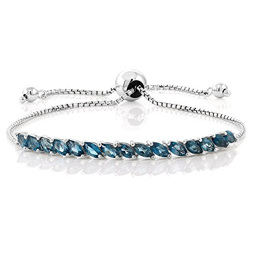 (Gem Stone King London Blue Topaz 925 Sterling Silver Fully Adjustable Women's Tennis Bracelet, Gemstone Birthstone 1.50 Cttw)