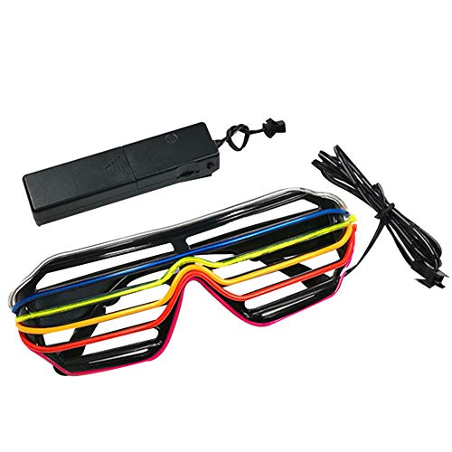 preliked Colorful Hollow Stripes LED Light Up Shutters Glasses Halloween Christmas Party -