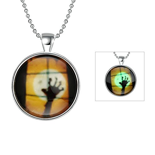 Aooaz Women Men Luminous Necklace Stainless Steel Halloween Ghost Skull Hand Silver Necklace Night Light