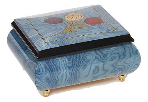 Light blue Italian inlaid musical jewelry box with original tulip design and customizable tune options