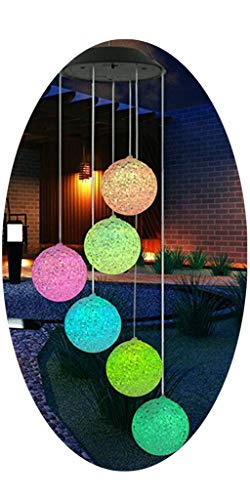 Amaping Solar Powered Crystal Ball Wind Chimes Light LED Garden Hanging Spinner Lamp Chandelier Color Changing Patio Festival Decor Kids Adults Bedroom Living Room Lighting Night Light - Chandelier Mini Grace